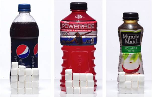 sugary drinks with cubes of sugar representing the amount of sugar in each serving