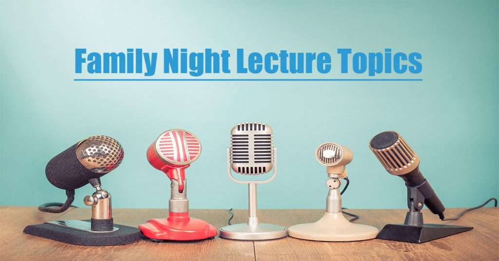 family night lectures graphic with multiple microphones